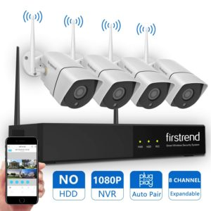 Wireless Security Camera System, Firstrend 8CH 1080P Wireless NVR System with 4pcs 1.3MP IP Security Camera with 65ft Night Vision
